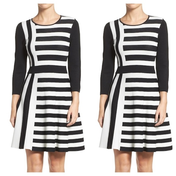 Eliza J Dresses Fit Flare Sweater Dress Black White L Poshmark